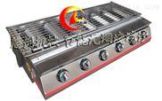 不锈钢六头节能燃气烧烤炉,六个开关煤气烧烤机,烤面筋烧烤机