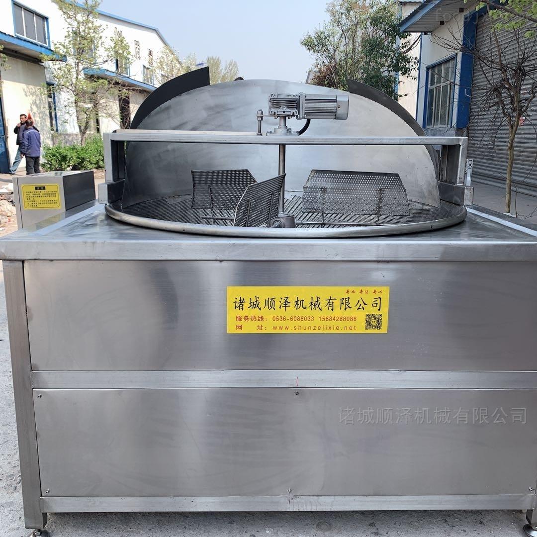 高效肉块油炸机 搅拌式自动出料油炸锅